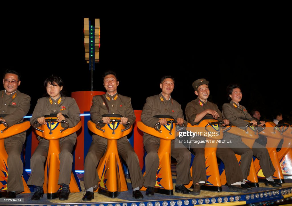 North Korean soldiers in a fairground attraction at Kaeson youth park, Pyongan Province, Pyongyang, North Korea... : News Photo