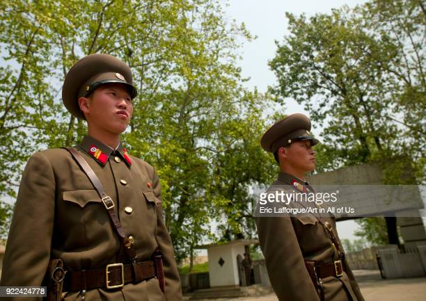 North Korean soldiers in the joint security area of the Demilitarized Zone, North Hwanghae Province, Panmunjom, North Korea on May 19, 2009 in...