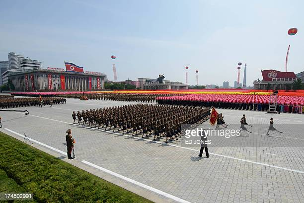 North Korean soldiers march through Kim IlSung square during a military parade marking the 60th anniversary of the Korean war armistice in Pyongyang...