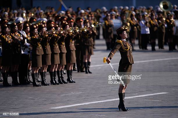 North Korean soldiers participate in a mass military parade at Kim IlSung square in Pyongyang on October 10 2015 North Korea was marking the 70th...