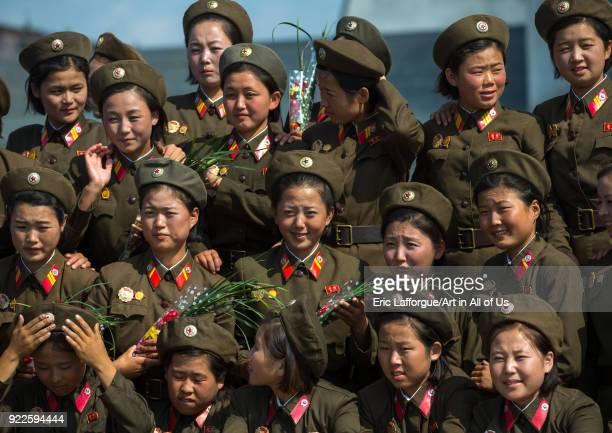 North Korean soldiers women posing for a photo souvenir Pyongan Province Pyongyang North Korea on September 9 2012 in Pyongyang North Korea