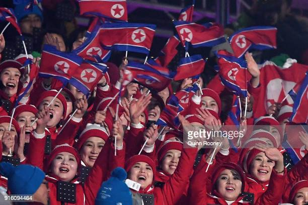 North Korean spectators attend the Opening Ceremony of the PyeongChang 2018 Winter Olympic Games at PyeongChang Olympic Stadium on February 9, 2018...