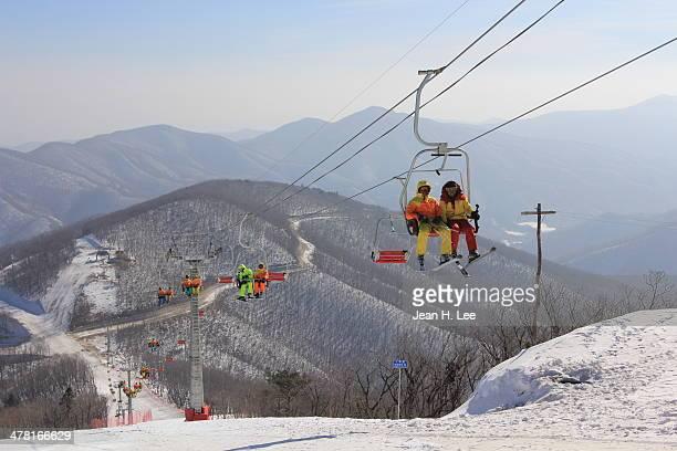 North Korean students ride a chair lift the new Masik Pass Ski Resort January 29 2014 near Wonsan in northeastern North Korea The resort reportedly...