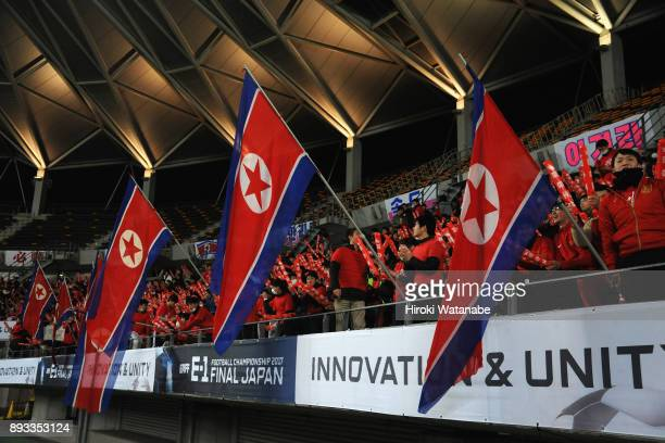 North Korean supporters cheer prior to the EAFF E1 Women's Football Championship between Japan and North Korea at Fukuda Denshi Arena on December 15...