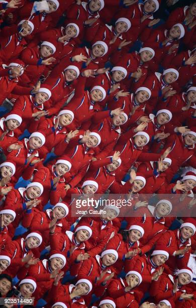 North Korean supporters during the Short Track Speed Skating on day thirteen of the PyeongChang 2018 Winter Olympic Games at Gangneung Ice Arena on...