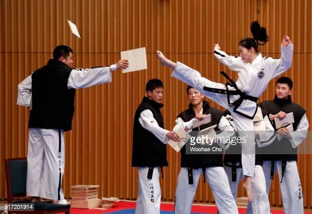 North Korean taekwondo demonstration team members perform at the Joint Taekwondo performance of World Taekwondo and International Taekwondo...
