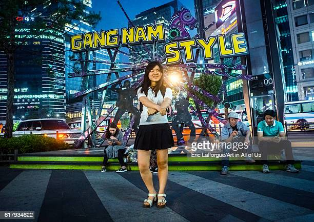 North korean teen defector in front of a gangnam style logo dancing like psy national capital area seoul South Korea on June 3 2016 in Seoul South...