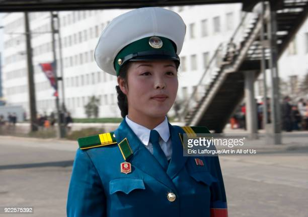 North Korean traffic security officer in blue uniform in the street Pyongan Province Pyongyang North Korea on April 25 2010 in Pyongyang North Korea