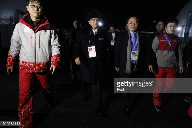 North Korean Vice Sports Minister Won Kil-u and North Korean delegation of 32 people and 10 athletes of North Korean Olympic team, arrive at the...