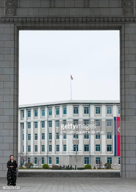 North Korean woman below the arch of triumph Pyongan Province Pyongyang North Korea on April 13 2008 in Pyongyang North Korea