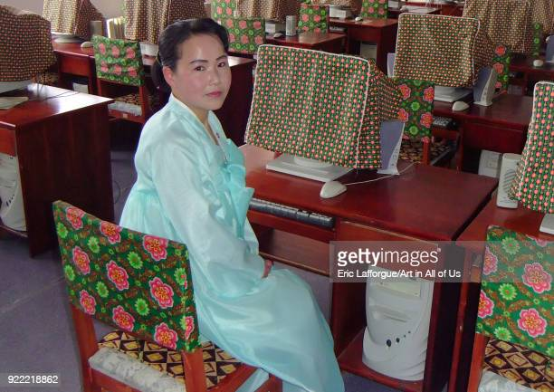 North Korean woman in the computer room in children's palace, Ryanggang Province, Samjiyon, North Korea on May 4, 2010 in Samjiyon, North Korea.