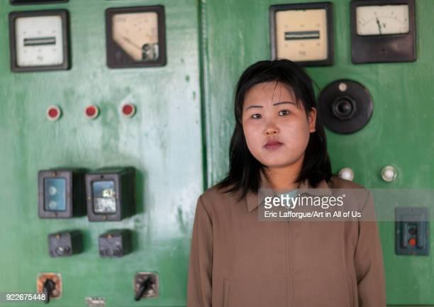 North Korean woman working on rimyonsu dam Ryanggang Province Rimyongsu North Korea on May 4 2010 in Rimyongsu North Korea