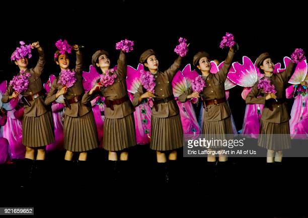 North Korean women dressed as soldiers during the Arirang games in may day stadium Pyongan Province Pyongyang North Korea on September 9 2008 in...