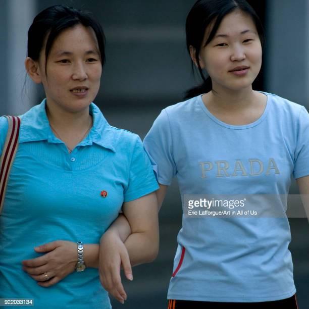 North Korean women with a fake prada shirt Pyongan Province Pyongyang North Korea on September 8 2008 in Pyongyang North Korea
