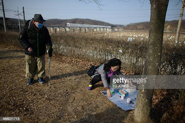 North Korean-born man arrives for a memorial ceremony for relatives still in the North, near the Freedom Bridge at the Demilitarized Zone at...