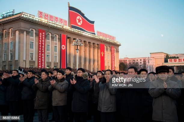 North Koreans attend a mass rally to celebrate the North's declaration on November 29 it had achieved full nuclear statehood, on Kim Il-Sung Square...