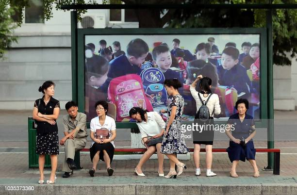 North Koreans in the street on September 18 2018 in Seoul South Korea North Korean leader Kim and South Korean President Moon meet for the...