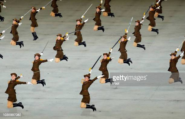 North Koreans perform gymnastic and artistic during a South Korean President Moon Jaein and North Korean leader Kim Jong Un visit at the May Day...