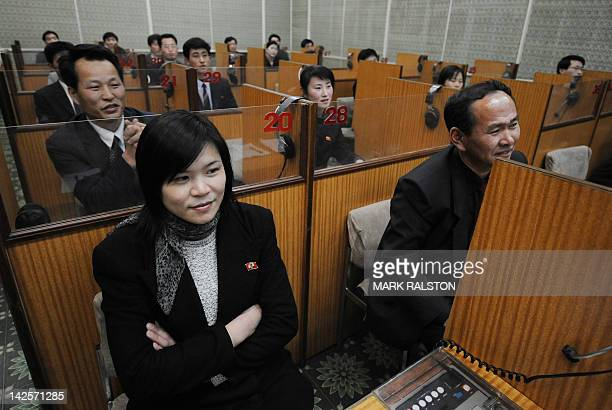 North Koreans study english at the Grand People's Study Palace in the North Korea capital Pyongyang on February 26 2008 The first joint university...