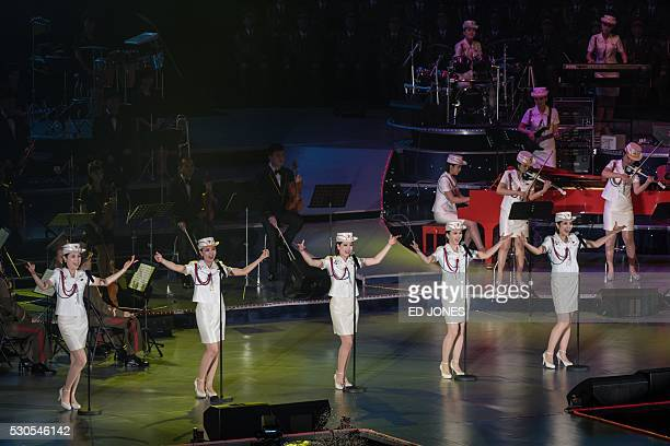 North Korea's allfemale Moranbong Band perform in Pyongyang on May 11 2016 / AFP / Ed Jones