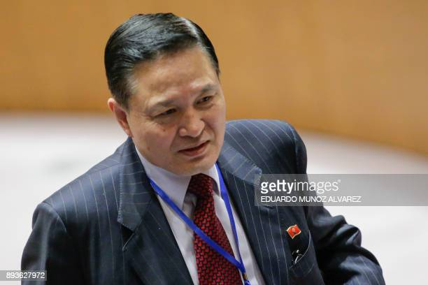 North Korea's ambassador to the UN Ja Songnam exits the room after the UN Security Council Ministerial Briefing on NonProliferation and the DPRK at...