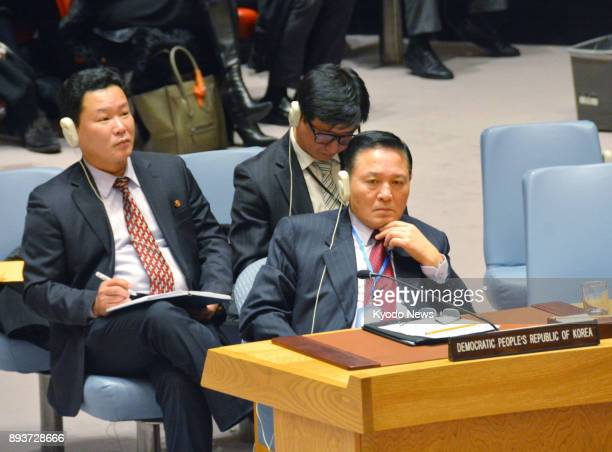 North Korea's Ambassador to the United Nations Ja Song Nam takes part in a ministeriallevel UN Security Council meeting held at UN headquarters in...