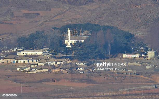 North Korea's border county of Kaepoong is seen from a South Korean observation post in Paju near the Demilitarized Zone dividing two Koreas on...