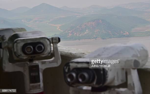 North Korea's border county of Kaepoong is seen from a South Korean observation post during a press tour to General Outpost of 2nd Marine Division in...