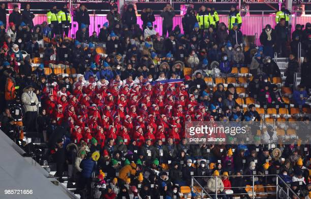 North Korea's cheerleaders sitting on the stands at the opening ceremony of the 2018 Winter Olympics in Pyeongchang, South Korea, 09 Febuary 2018....