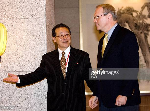 North Korea's envoy Kim Gye Gwan directs US top nuclear envoy Christopher Hill after a press statement is issued by China's ViceMinister of Foreign...