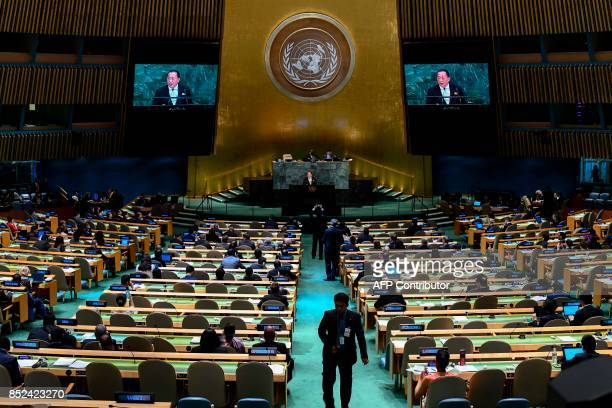 North Korea's Foreign Minister Ri Yong Ho addresses the 72nd session of the United Nations General assembly at the UN headquarters in New York on...