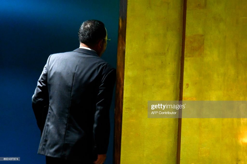 North Korea's Foreign Minister Ri Yong Ho leaves after addressing the 72nd session of the United Nations General assembly at the UN headquarters in New York on September 23, 2017. / AFP PHOTO / Jewel SAMAD