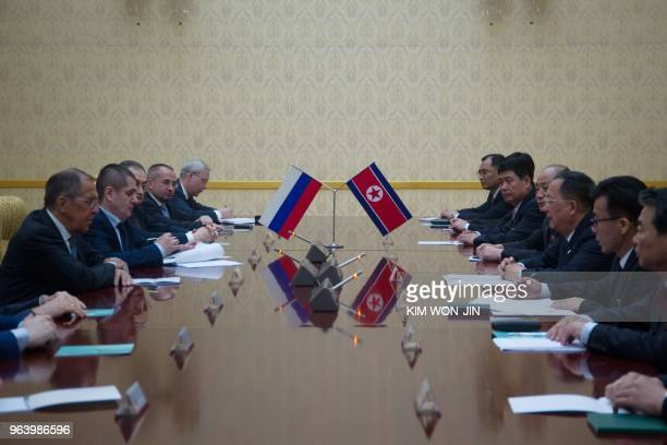 North Korea's Foreign Minister Ri Yong Ho talks with Russia's Foreign Minister Sergei Lavrov at the Mansudae Assembly Hall in Pyongyang on May 31,...