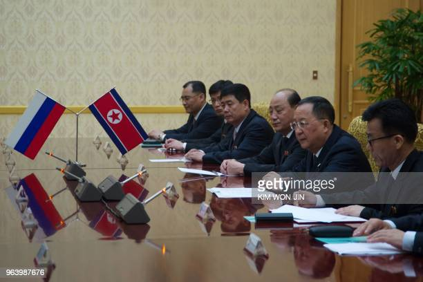 North Korea's Foreign Minister Ri Yong Ho talks with Russia's Foreign Minister Sergei Lavrov at the Mansudae Assembly Hall in Pyongyang on May 31...