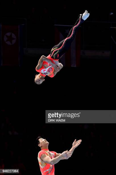 North Korea's Hyo Song Ri and Yong Won Kong compete in the men's final pair event on the second day of the 26th edition of the Acrobatic Gymnastics...