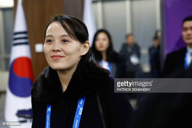 TOPSHOT North Korea's Kim Jong Un's sister Kim Yo Jong arrives for the opening ceremony of the Pyeongchang 2018 Winter Olympic Games at the...