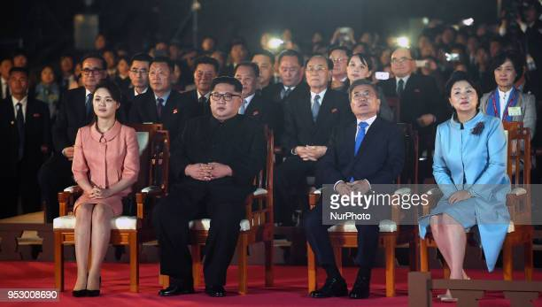 North Korea's leader Kim Jong Un and his wife Ri Sol Ju sit with South Korea's President Moon Jaein and his wife Kim Jungsook during a farewell...