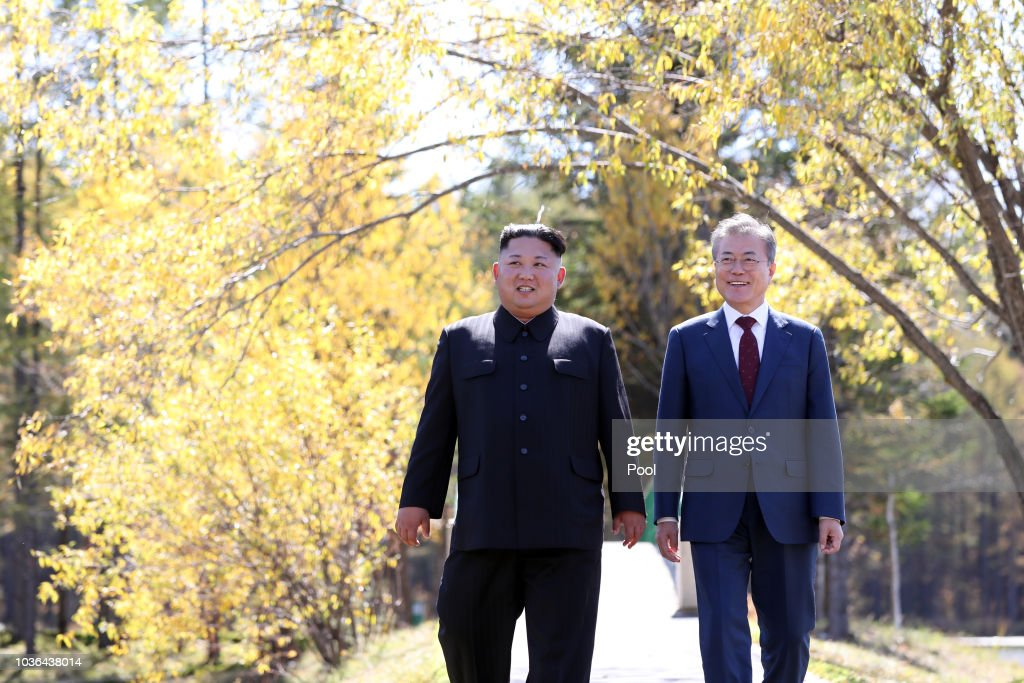 North And South Korean Leaders Meet For Third Summit It Pyonyang : News Photo