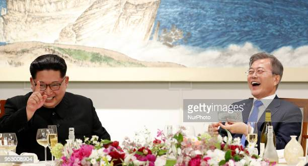 North Korea's leader Kim Jong Un and South Korea's President Moon Jaein during InterKorean Summit 2018 in Panmunjom on April 27 2018 The leaders of...