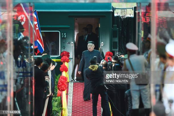 TOPSHOT North Korea's leader Kim Jong Un arrives at the Dong Dang railway station in Dong Dang Lang Son province on February 26 to attend the second...