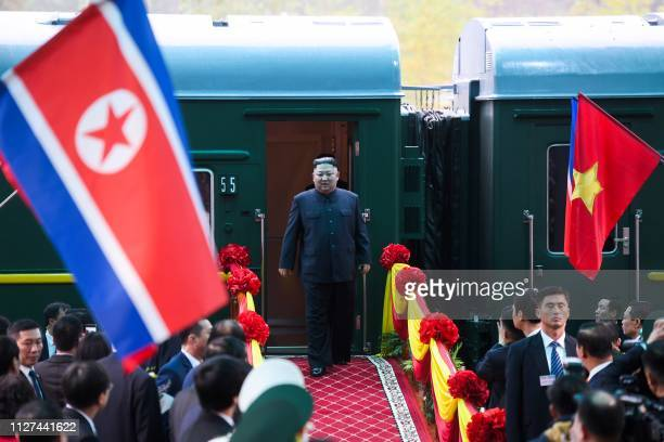 North Korea's leader Kim Jong Un arrives at the Dong Dang railway station in Dong Dang Lang Son province on February 26 to attend the second USNorth...