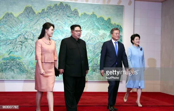 North Korea's leader Kim Jong Un his wife Ri Sol Ju South Korea's President Moon Jaein and his wife Kim Jungsook during the InterKorean Summit 2018...