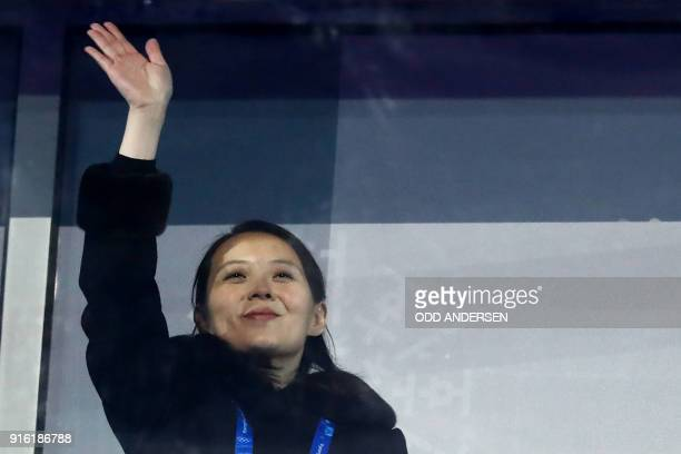 TOPSHOT North Korea's leader Kim Jong Un's sister Kim Yo Jong waves during the opening ceremony of the Pyeongchang 2018 Winter Olympic Games at the...
