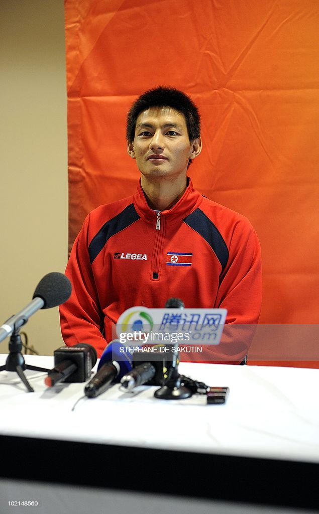 North Korea's midfielder An Young-Hak answers journalists during a press conference at Makhulong Stadium on June 16, 2010 in Tembisa, South Africa. South Korea coach Huh Jung-Moo admitted Wednesday he had been impressed by North Korea's performance in their 2-1 defeat by Brazil at the World Cup.
