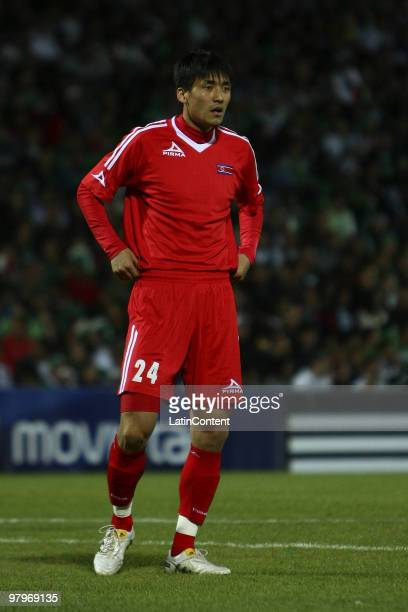 North Korea's midfielder Ri Kwang-Chon in action during an international friendly match between Mexico and North Korea as part of both team's...