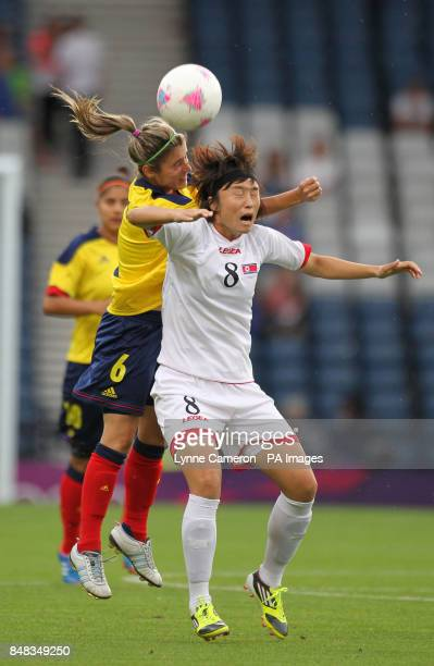 North Korea's Myong Hwa Jon and Colombia's Daniela Motoya during the Colombia v North Korea WomenOtildes Football First Round Group G match at...