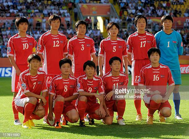 North Korea's national football team poses prior to the football match of the FIFA women's football World Cup USA vs Korea PRK at Dresden's...