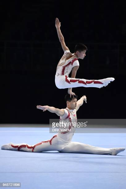 North Korea's pair Ri Hyo Song and Kong Yong Won perform on the first day of the 26th edition of the Acrobatic Gymnastics world championships in...