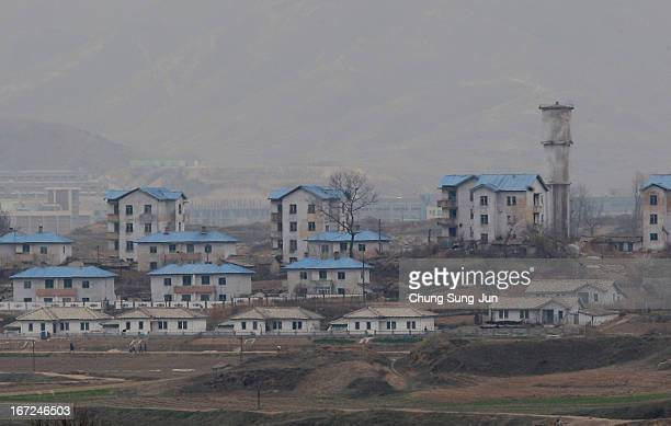 North Korea's propaganda village of Gijungdong is seen from an observation post on April 23, 2013 in Panmunjom, South Korea. The tension at Korean...