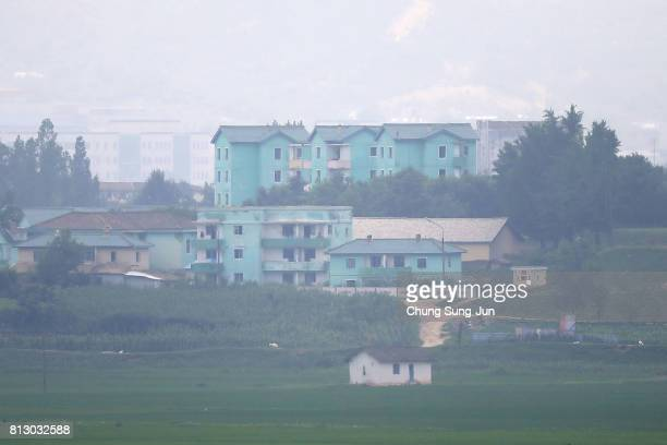 North Korea's propaganda village of Gijungdong is seen from an observation post on July 12 2017 in Panmunjom South Korea South Korea Japan and the...